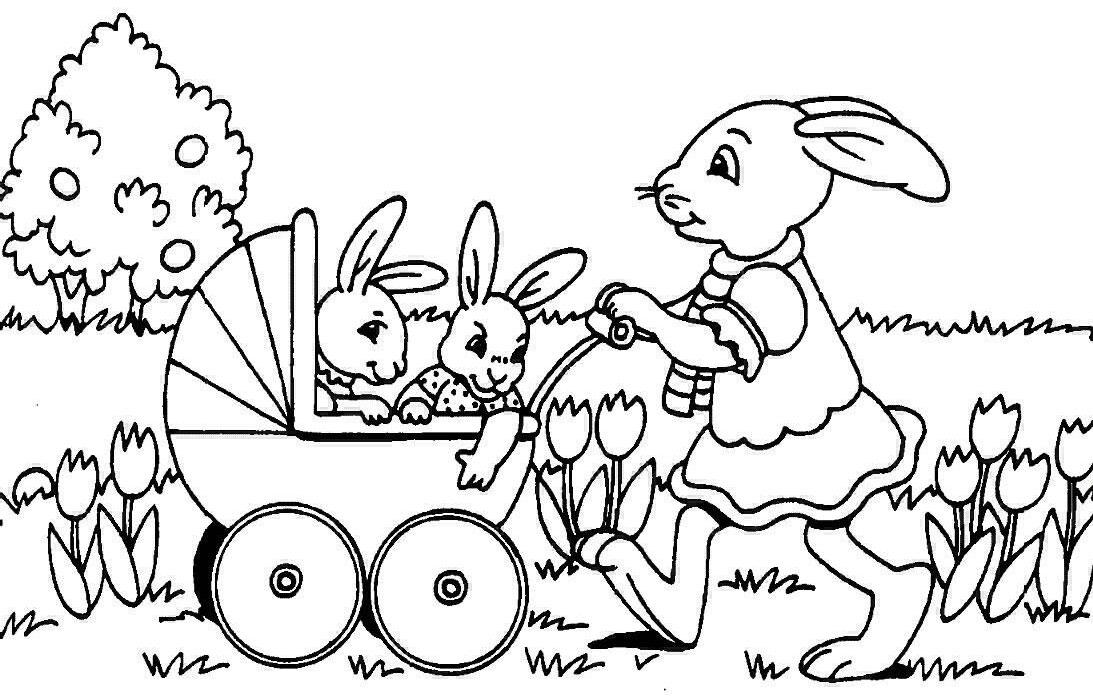 Disegno conigli di Pasqua da colorare, dolce e tenera coniglietta di pasqua che spinge il passeggino con 2 coniglietti