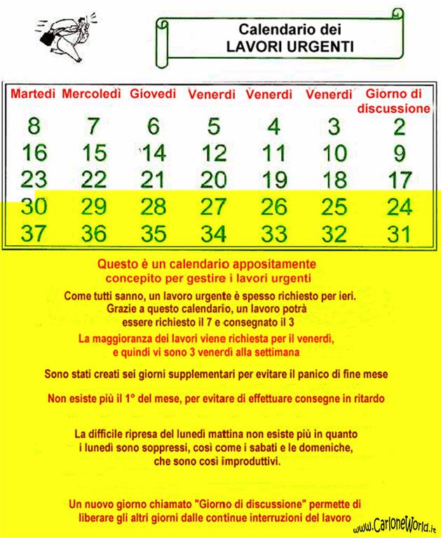 Calendario dei lavori urgenti