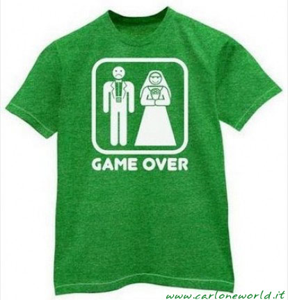 Game over maglietta matrimonio