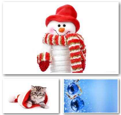 Immagini di Natale: pupazzo di neve, gattino e addobbi natalizi