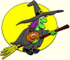 Immagine Halloween: Strega, con zucca di Halloween, su scopa