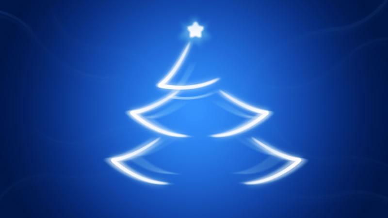 Immagine di Natale: Albero di Natale stilizzato su sfondo blu