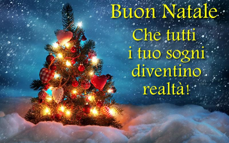Immagine Natale: Che tutti i tuoi sogni diventino realta'. Buon Natale.