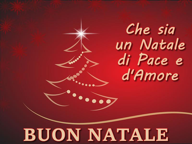 Immagini Natalizie: Auguri di Buon Natale con bel albero di Natale e frase di Auguri